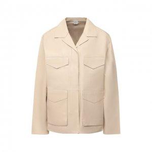 Кожаная куртка Totême. Цвет: бежевый
