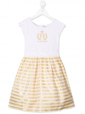 Пышное платье с эффектом металлик Aigner Kids. Цвет: белый
