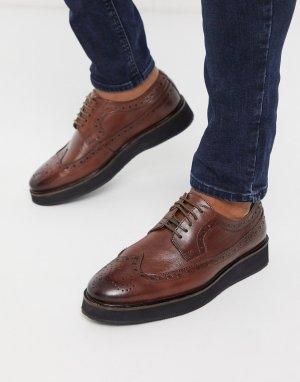 Коричневые кожаные броги -Коричневый цвет ASOS DESIGN