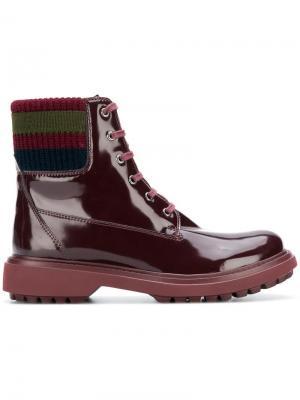 Лакированные ботинки на шнуровке Geox. Цвет: красный