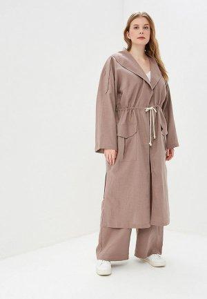 Плащ Авантюра Plus Size Fashion. Цвет: коричневый