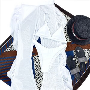 Купальник бикини и пляжные брюки 3шт SHEIN. Цвет: белый