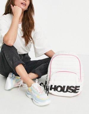 Белый рюкзак с радужной строчкой и логотипом House of Holland