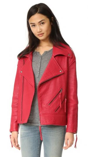 Кожаная куртка Brutus Rebecca Minkoff. Цвет: вишневая бомба