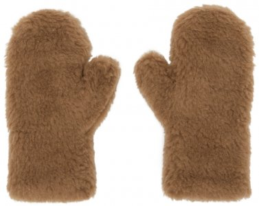 Brown Ombrato Teddy Mittens Max Mara. Цвет: 001 camel