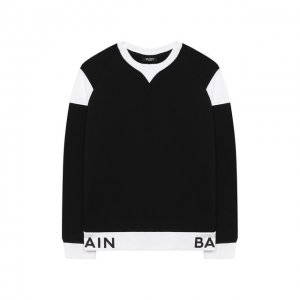 Хлопковый свитшот Balmain. Цвет: чёрно-белый