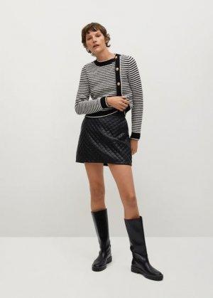 Стеганая мини-юбка - Recoco Mango. Цвет: черный