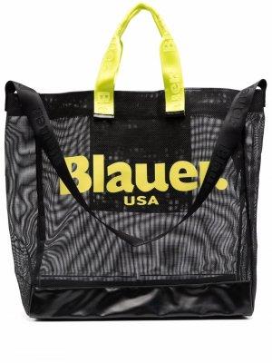 Сетчатая сумка-тоут с логотипом Blauer. Цвет: черный