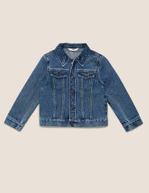 Джинсовая куртка из чистого хлопка в стиле вестерн Marks & Spencer. Цвет: темный индиго