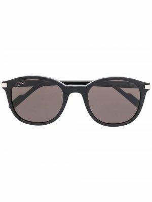 Солнцезащитные очки CT0302S в круглой оправе Cartier Eyewear. Цвет: черный