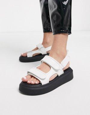 Белые сандалии на массивной подошве в спортивном стиле -Белый Public Desire