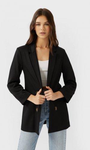 Двубортный Пиджак Без Застежки Женская Коллекция Черный Xs Stradivarius. Цвет: черный