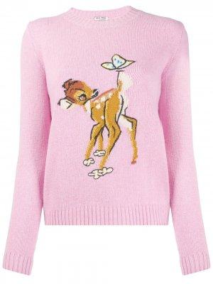 Джемпер с принтом Bambi Miu. Цвет: розовый