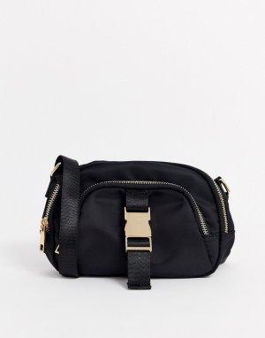 Небольшая сумка с пряжкой в стиле ремня безопасности -Черный ASOS DESIGN