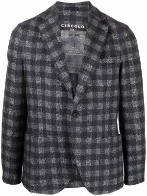 Однобортный пиджак в клетку Circolo 1901. Цвет: серый