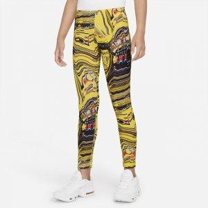 Леггинсы для танцев с принтом девочек школьного возраста Sportswear Favorites - Желтый Nike