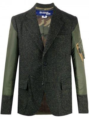 Однобортный пиджак с контрастными вставками Junya Watanabe MAN. Цвет: зеленый