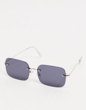 Солнцезащитные очки без оправы с дымчатыми стеклами -Серебряный ASOS DESIGN