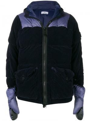 Куртка-пуховик с перчатками Stone Island. Цвет: синий