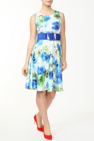 Платье с поясом Fervente. Цвет: синий, зеленый