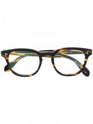 Очки Kauffman в округлой оправе Oliver Peoples. Цвет: коричневый