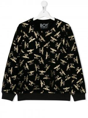 Толстовка с логотипом Boy London Kids. Цвет: черный