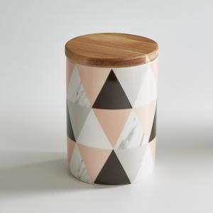 Горшок керамический с бамбуковой крышкой La Redoute Interieurs. Цвет: набивной рисунок