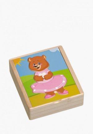 Пазл Игрушки из дерева Медвежонок Катя. Цвет: разноцветный