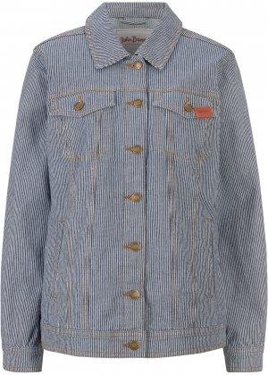 Куртка джинсовая в полоску bonprix. Цвет: синий