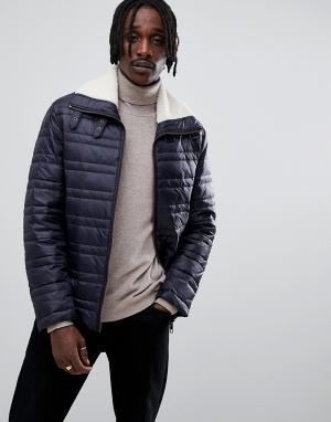 Темно-синяя стеганая куртка с воротником борг -Темно-синий Antony Morato