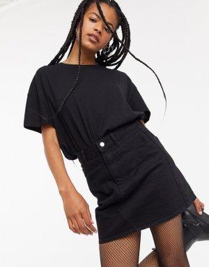 Черная джинсовая мини-юбка А-силуэта из переработанного хлопка с завышенной талией -Черный цвет Topshop
