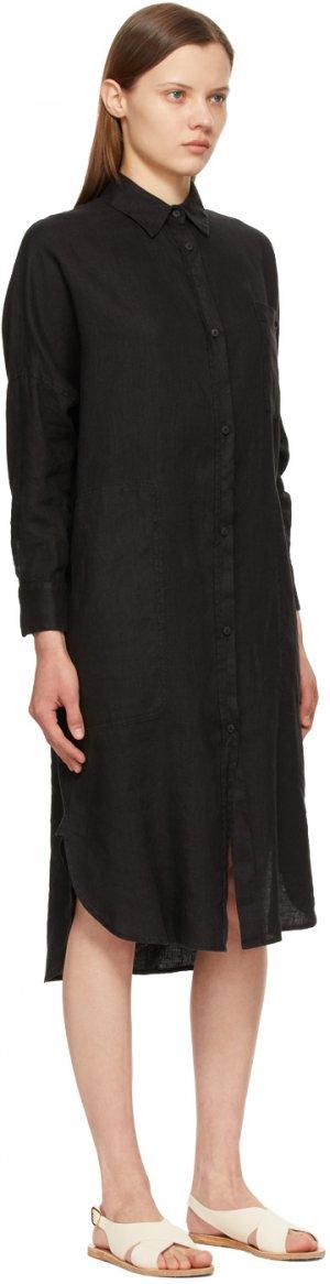 Black Linen Procida Shirt Dress Max Mara Leisure. Цвет: 003 black