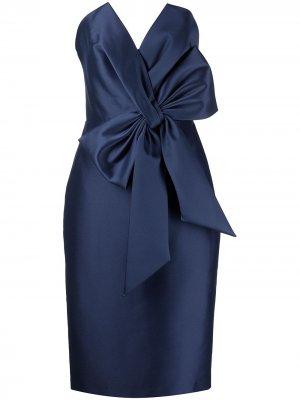 Платье без бретелей с бантом Badgley Mischka. Цвет: синий