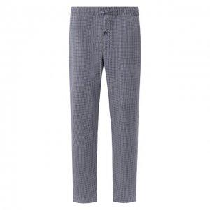 Хлопковые домашние брюки Hanro. Цвет: синий
