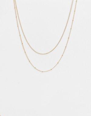 Набор из 2 золотистых ожерелий-цепочек -Золотистый Accessorize
