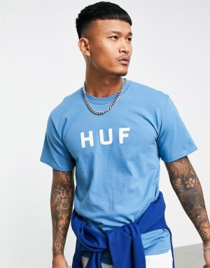 Голубая футболка с оригинальным логотипом Essentials-Голубой HUF