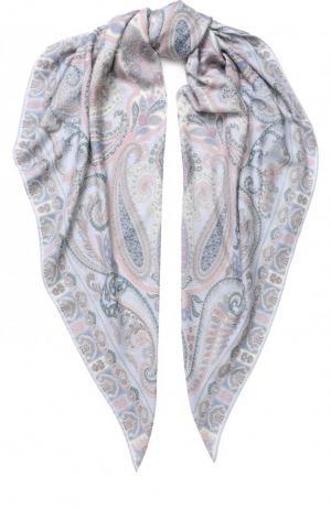 Платок из смеси кашемира и шелка с принтом Michele Binda. Цвет: синий