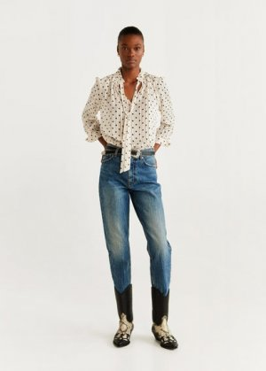 Блузка в горошек с бантом - Suit Mango. Цвет: грязно-белый