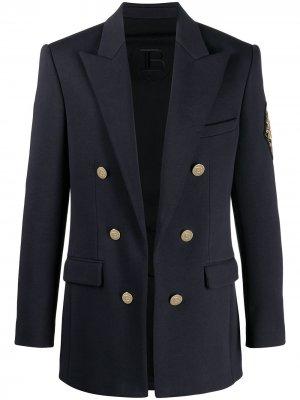 Пиджак с вышитым логотипом Balmain. Цвет: синий