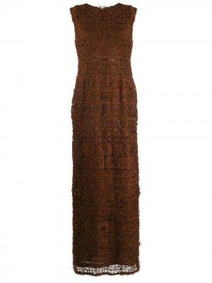 Фактурное платье макси 1990-х годов Jean Louis Scherrer Pre-Owned. Цвет: коричневый