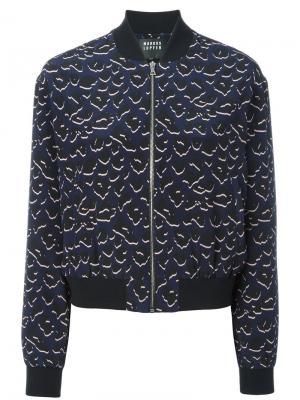 Куртка-бомбер с леопардовым принтом Markus Lupfer. Цвет: синий