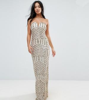 ebb22aa5e29d Платье-бандо макси с пайетками TFNC Petite. Цвет: золотой