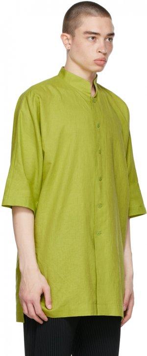Green Cotton Linen Shirt Homme Plissé Issey Miyake. Цвет: 62 green