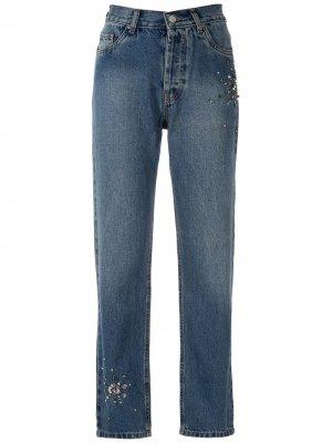 Декорированные джинсы Eva. Цвет: синий