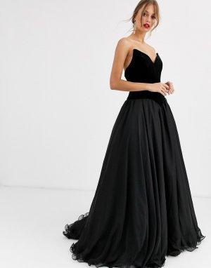 Платье-бандо для выпускного -Черный Jovani