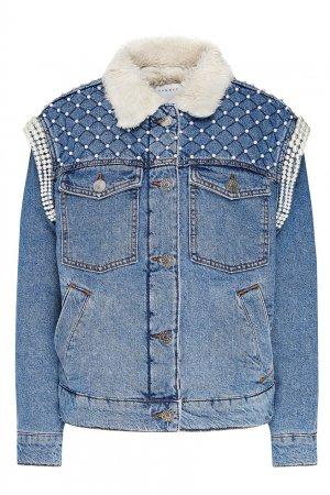Джинсовая куртка на искусственном меху с декором Sandro. Цвет: синий