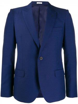 Однобортный пиджак узкого кроя Alexander McQueen. Цвет: синий