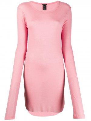 Длинная облегающая толстовка Ann Demeulemeester. Цвет: розовый