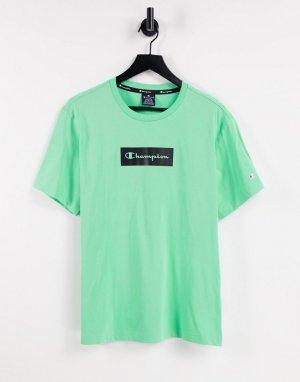 Мятно-зеленая футболка с квадратным логотипом на груди -Зеленый цвет Champion