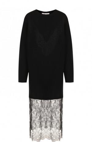 Платье-миди из смеси шерсти и кашемира с кружевной вставкой Valentino. Цвет: черный